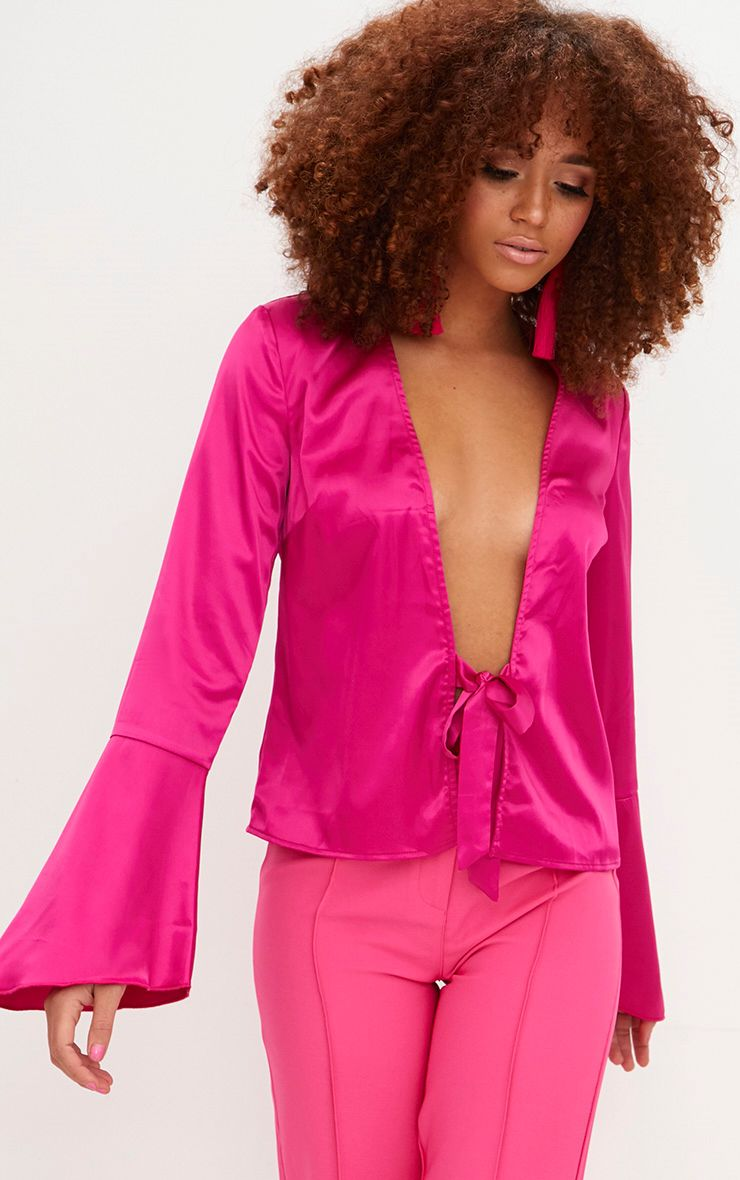 Hot Pink Satin Flute Sleeve Plunge Tie Blouse