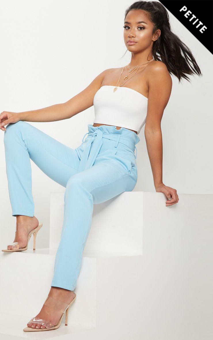 Petite Powder Blue Paperbag Waist Trousers