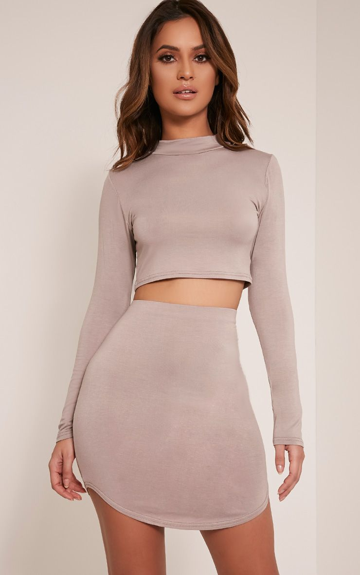 Ariana Taupe Long Sleeve Crop Top 1