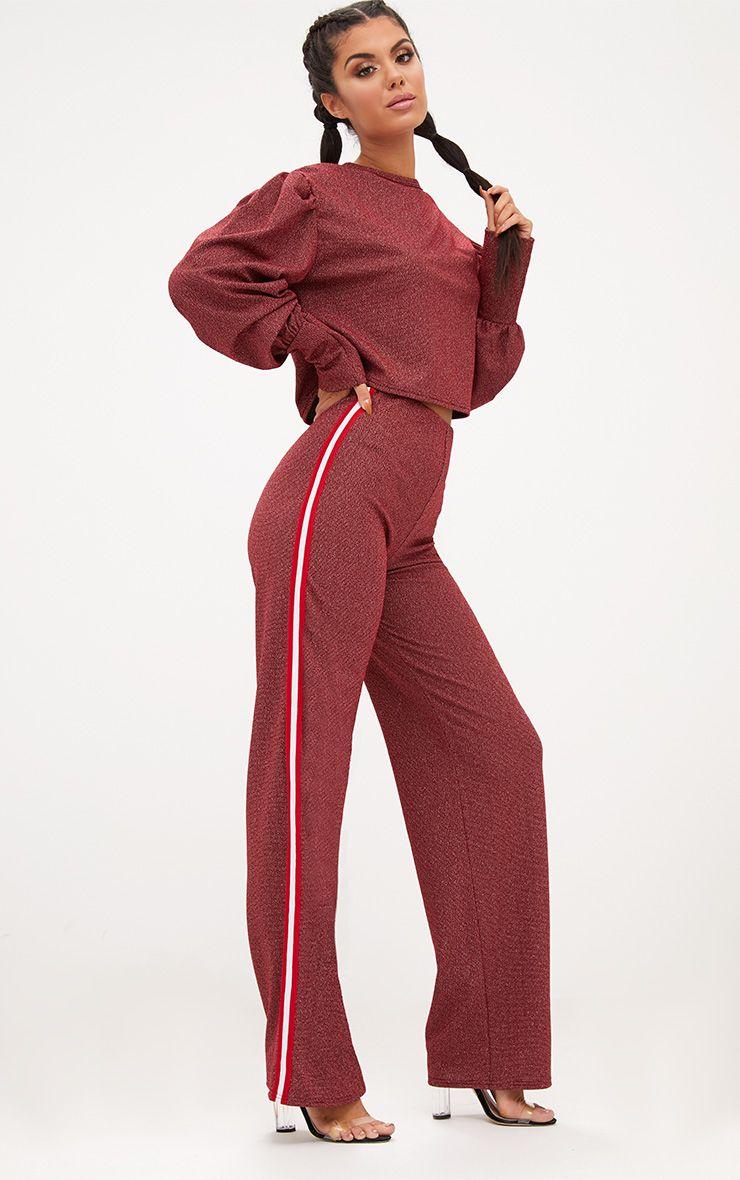 Red Lurex Sport Stripe Sweater