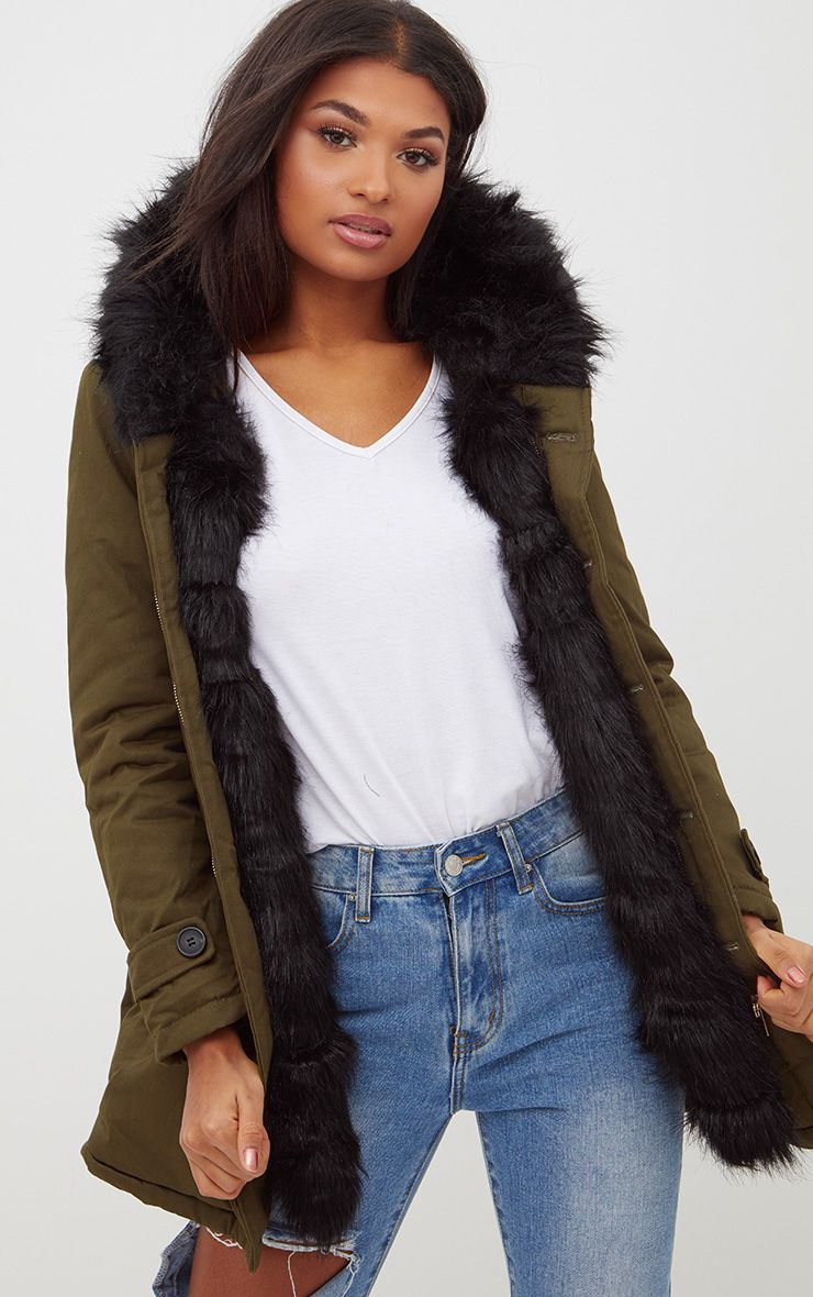 Black Faux Fur Lined Khaki Parka 1
