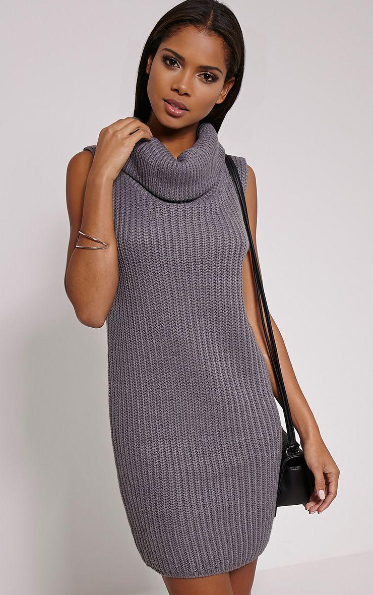 Jossy Grey Knitted Roll Neck Dress 1