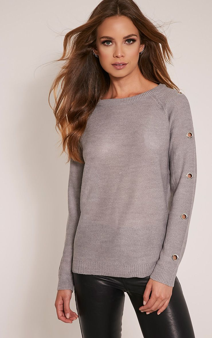 Tillie Grey Eyelet Sleeve Knitted Jumper 1