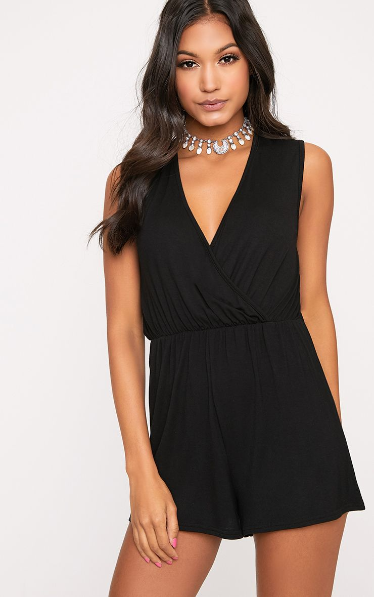 Black Sleeveless Wrap Front Playsuit