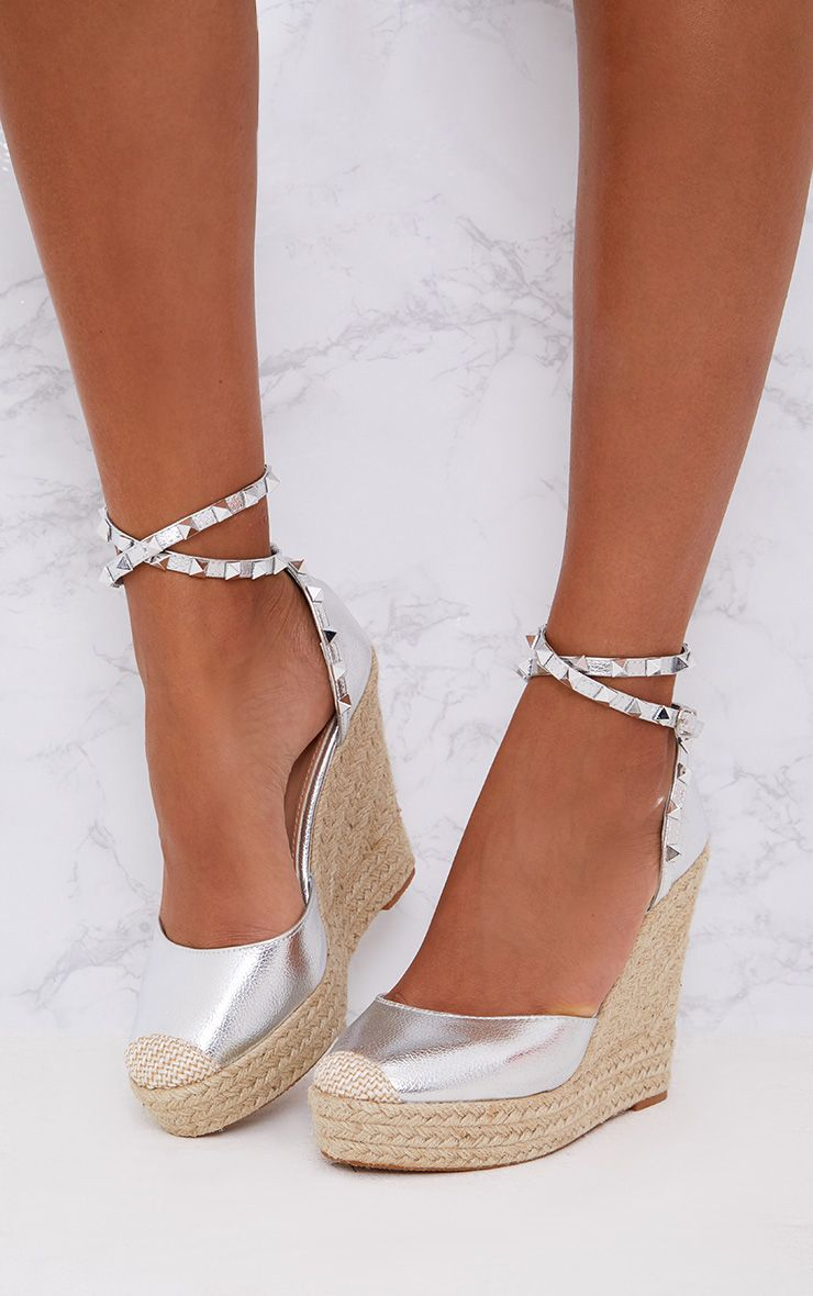 Silver Studded Strap Wedges