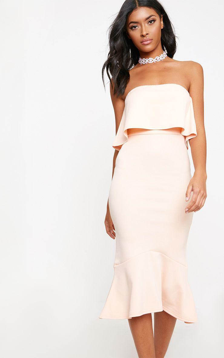 Nude Bandeau Frill Hem Midi Dress