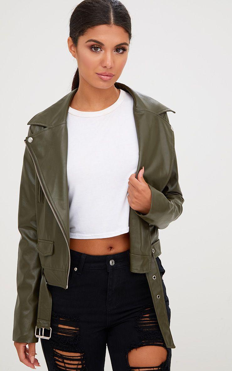 Khaki PU Biker Jacket