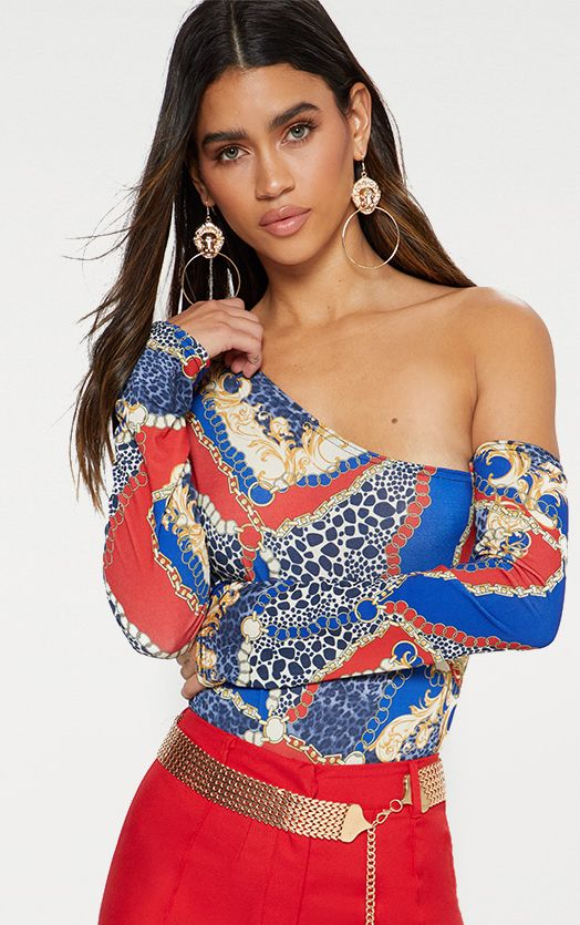Blue Chain Print Cut Out Shoulder Thong Bodysuit 1