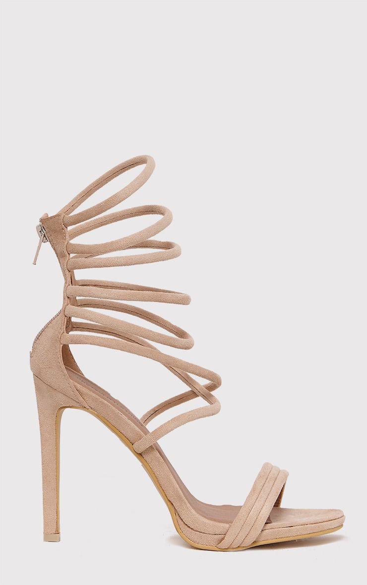 Carmella Stone Faux Suede Strappy Heels