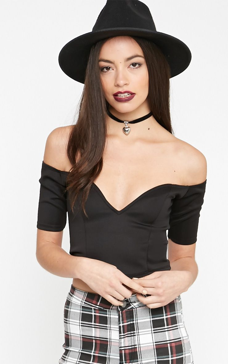 Rubi Black Sweetheart Front Bardot Crop Top 1