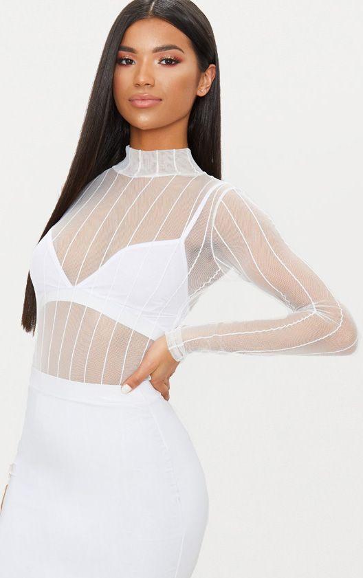White Mesh High Neck Stripe Thong Bodysuit