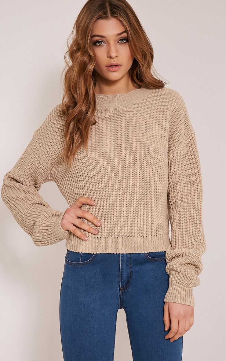 Cara Stone Knitted Crop Jumper