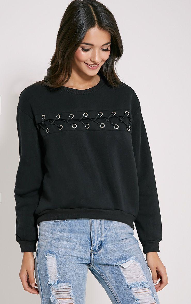 Marina Black Lace Detail Sweatshirt 1