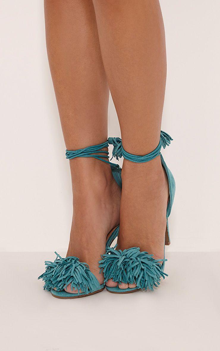 Bena Mint Faux Suede Fringe Sandals 1