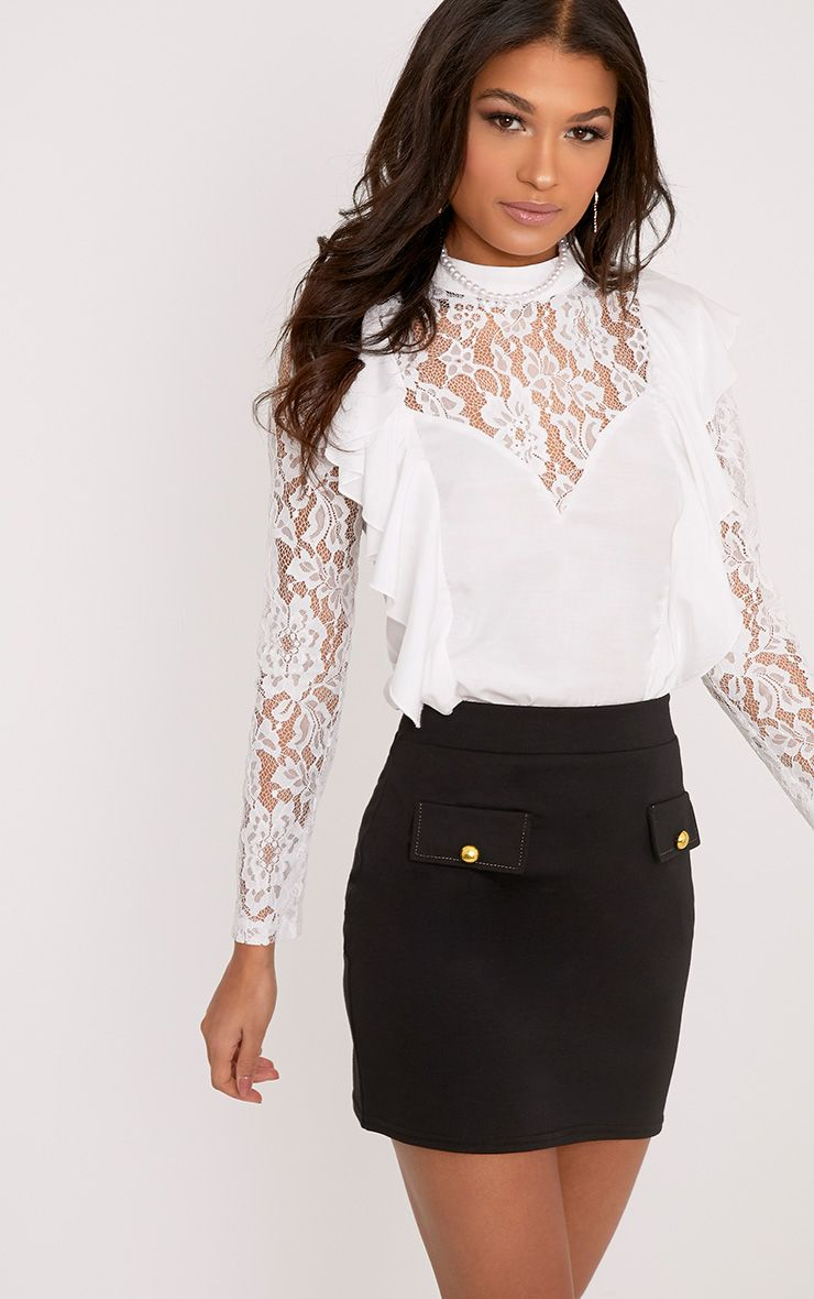 Becki White Ruffle Lace Sleeve High Neck Blouse