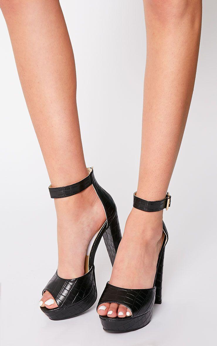 Gigi Black Croc Strappy Block Heeled Sandals 1