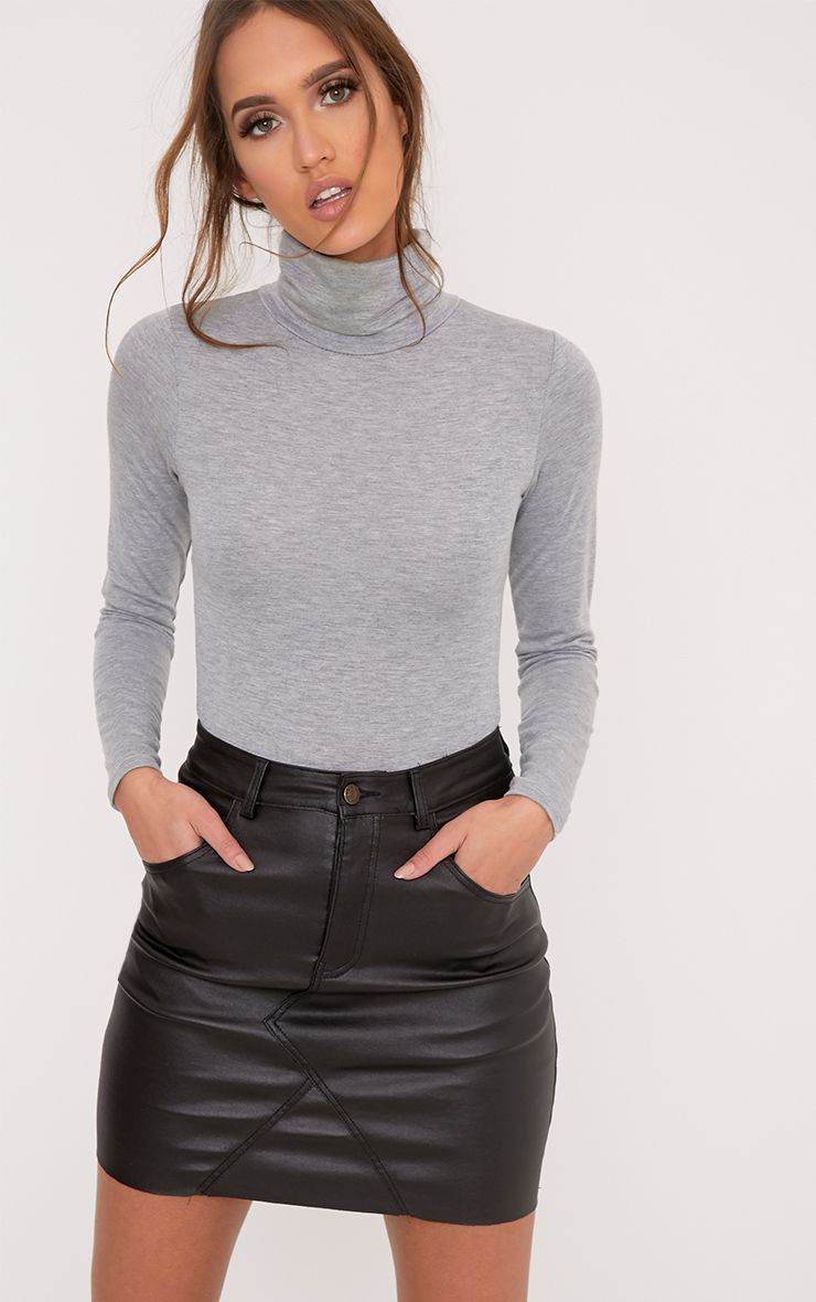 Basic Grey Roll Neck Long Sleeve Bodysuit