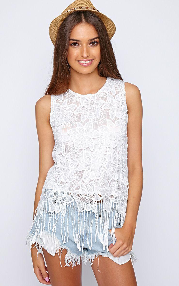 Adira White Crochet Tassel Vest  1