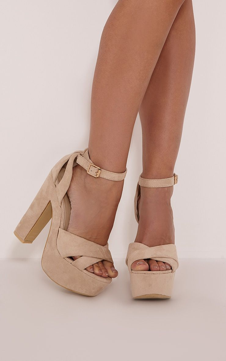 Leya Cream Faux Suede Platform Sandals