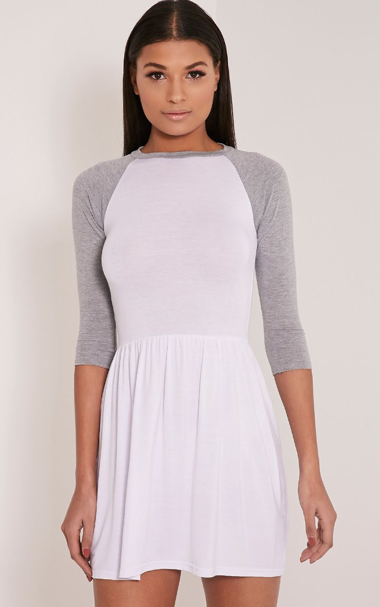 Amania White Raglan Sleeve Skater Dress 1