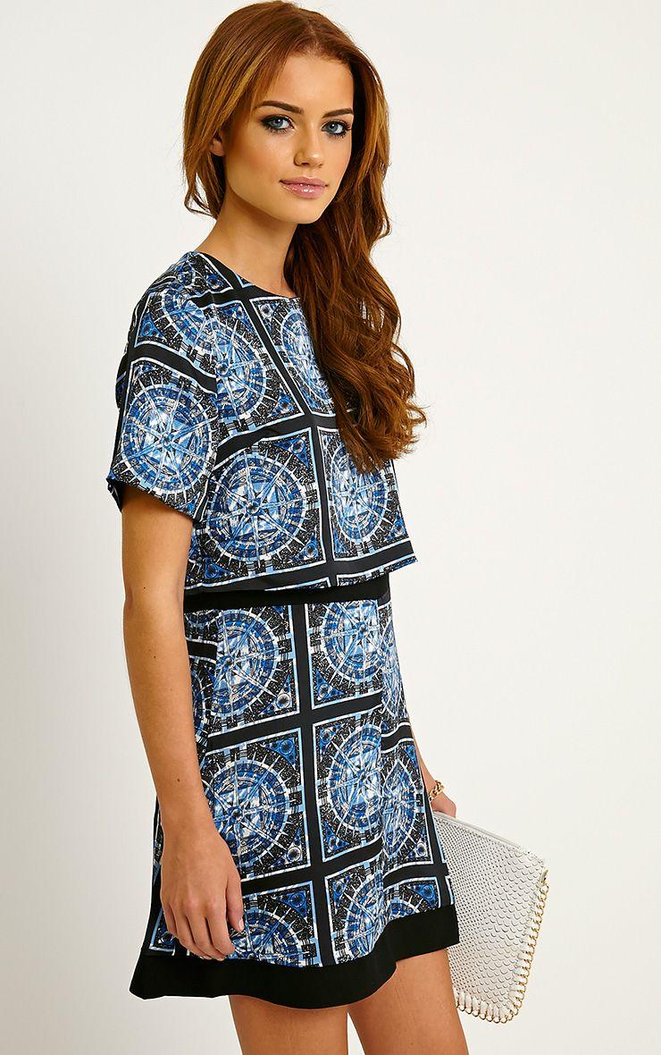 Leonarda Blue A-Line Printed Layered Shift Dress 1