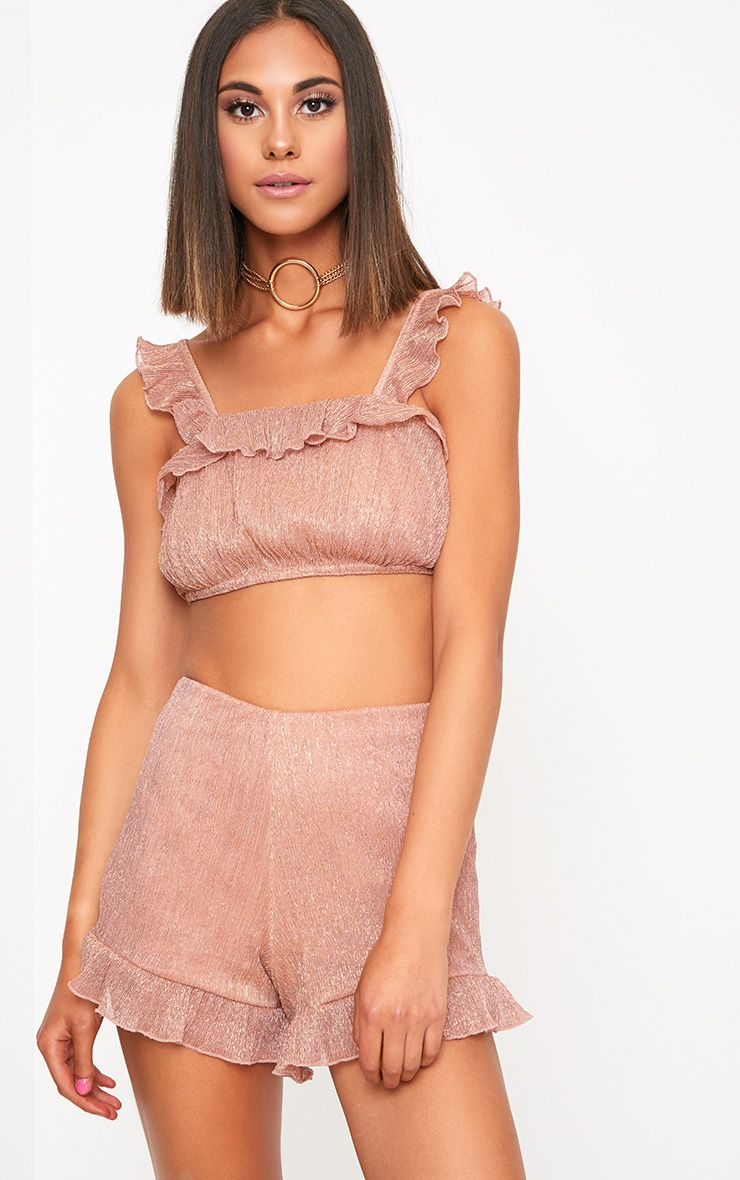 Rose Gold Metallic Frill Strappy Crop Top