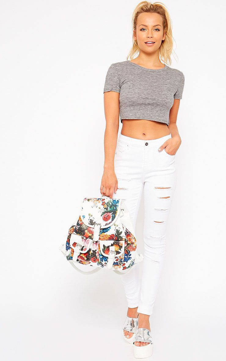 Caisley White Ripped Skinny Jean 1
