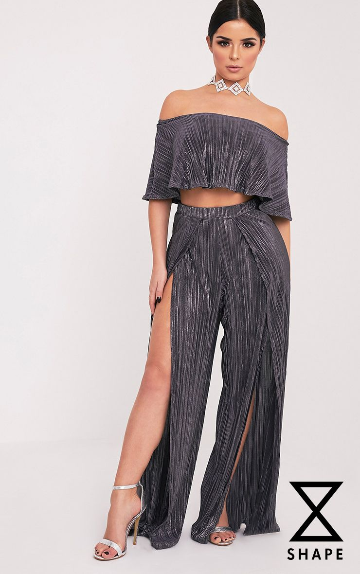 Shape Madaline Grey Split Front Metallic Trousers