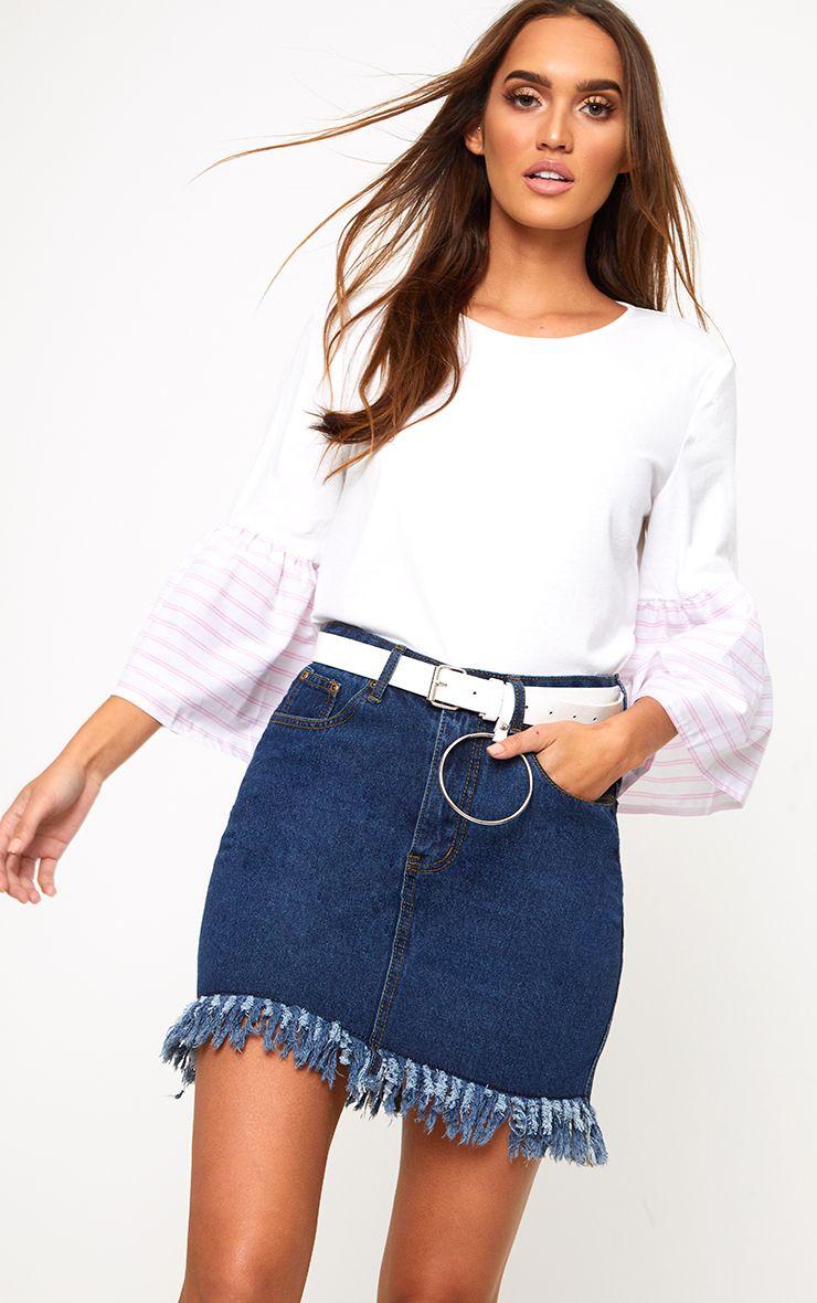 Cream Stripe Frill Sleeve Jersey T Shirt