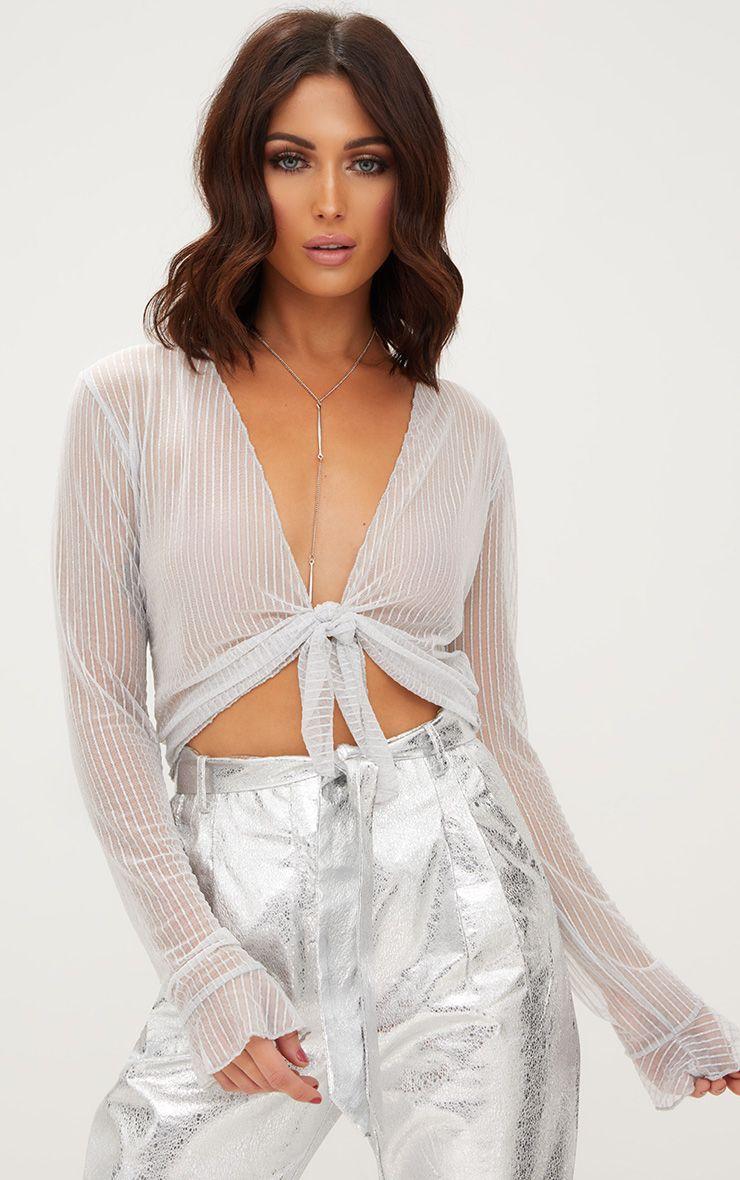 Ivory Glitter Stripe Tie Front Crop Top