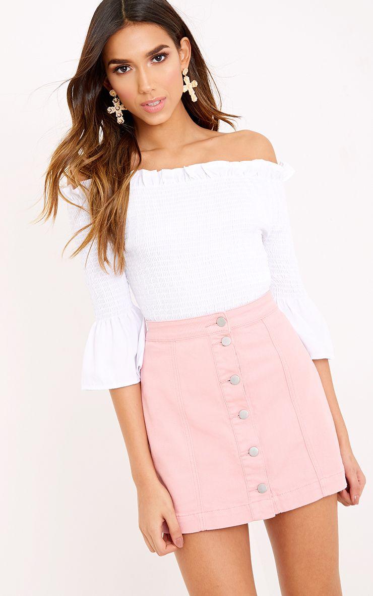 Cammie Pink Denim Mini Skirt