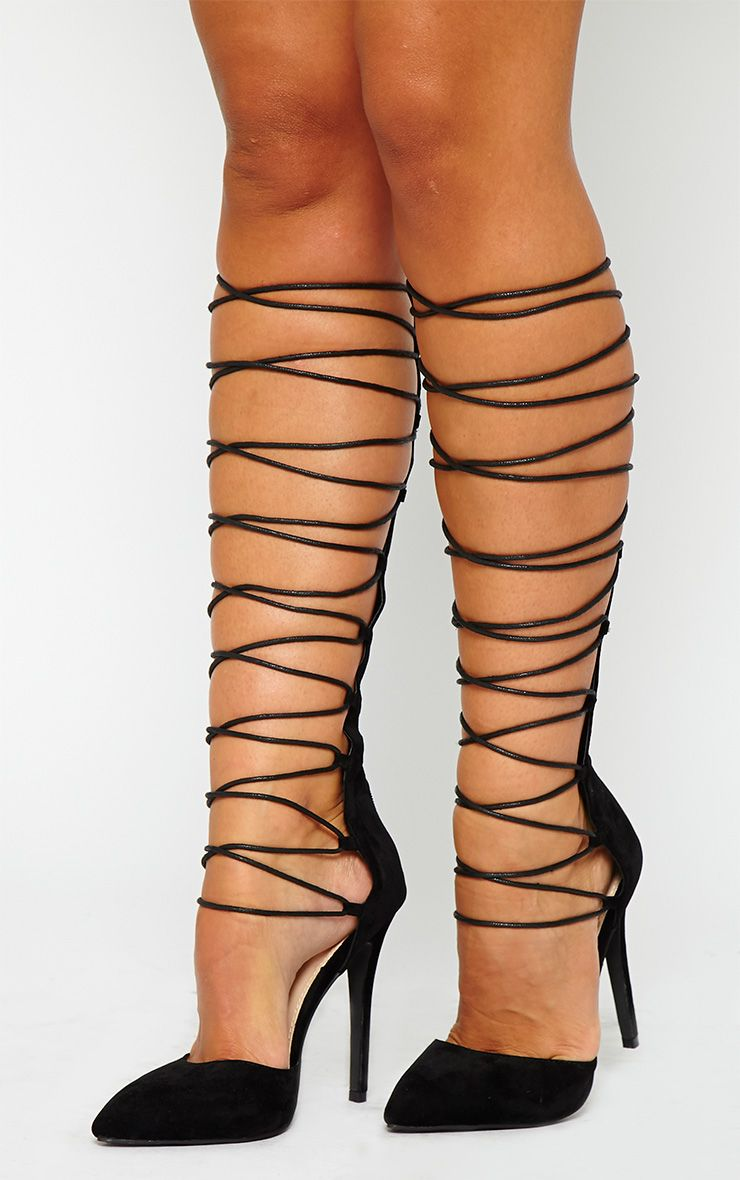 Reena Black Suede Pointed Strappy Knee High Heels 1