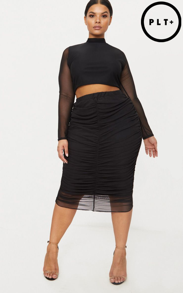 Plus Black Mesh Ruched Midi Skirt