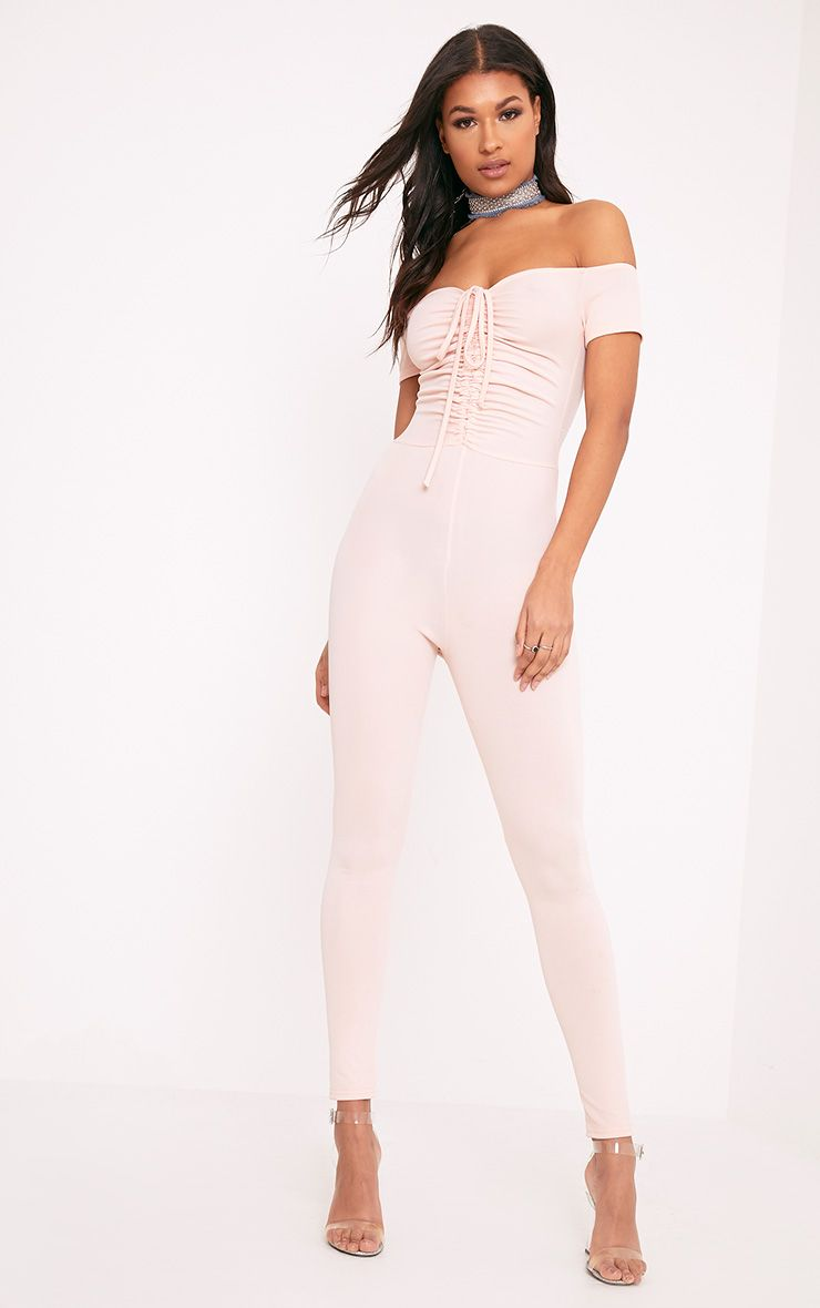 Jazlyn Nude Ruched Front Jumpsuit