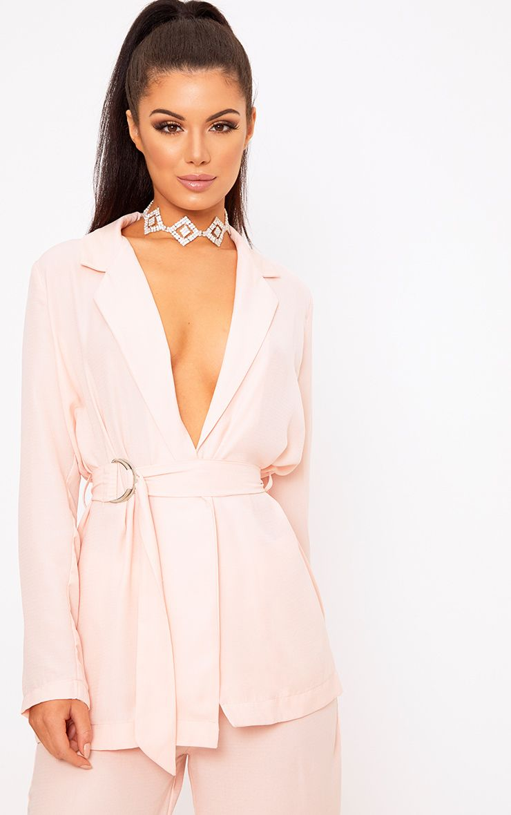 Romilly Nude Belted D Ring Detail Blazer