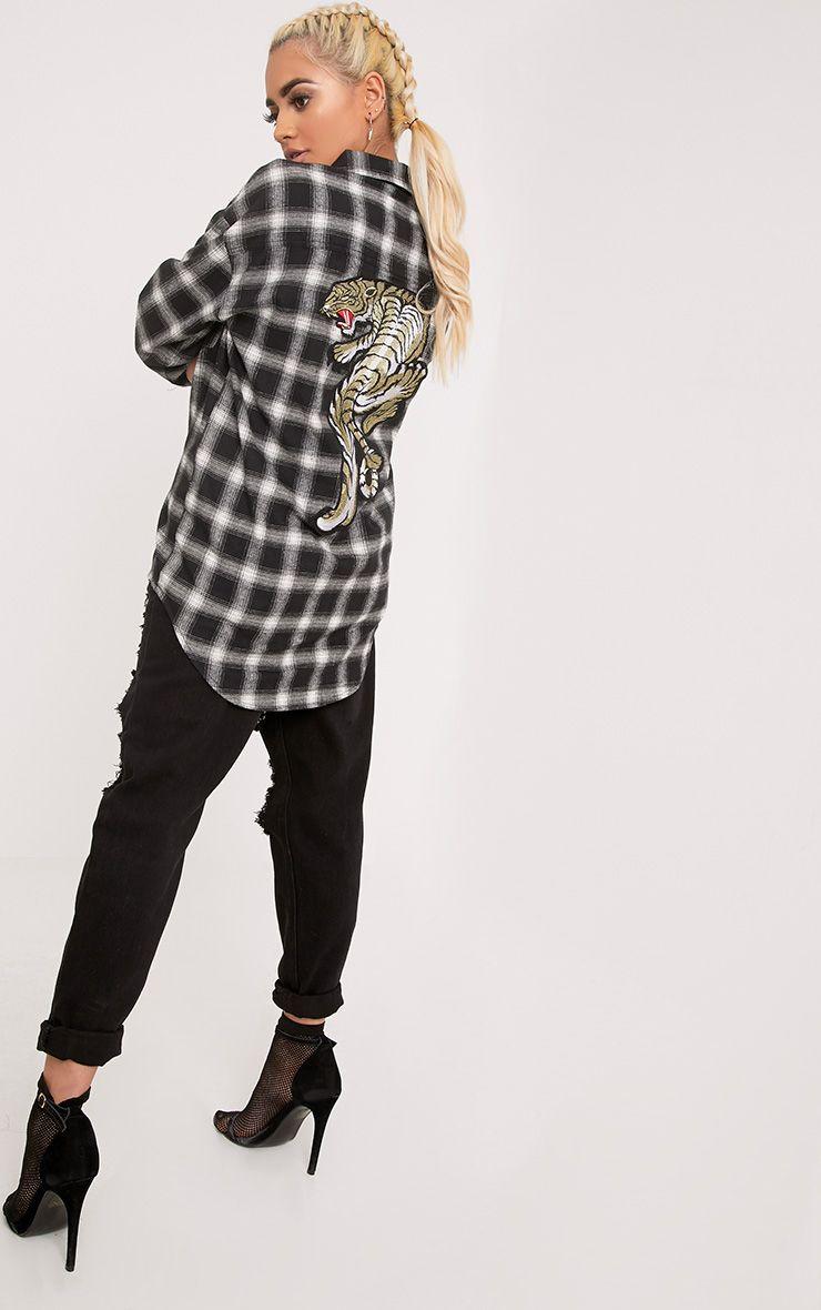 Maeve Black Checked Applique Shirt