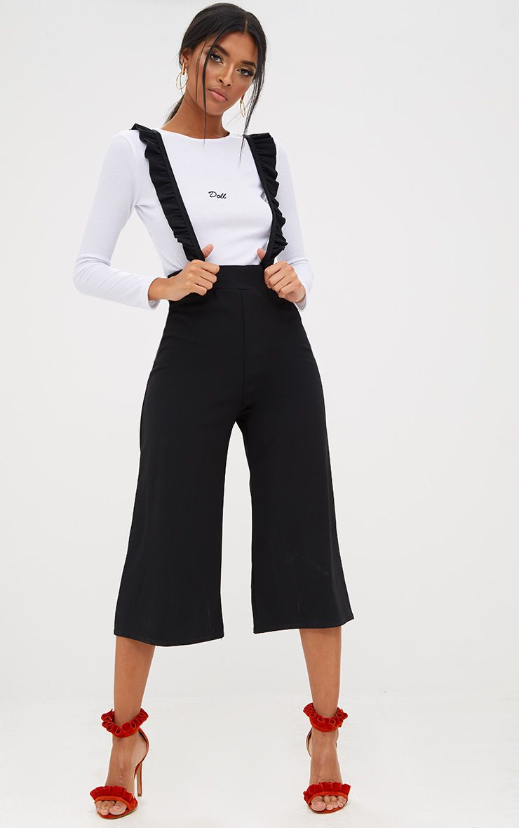 Black Frilly Brace Culottes