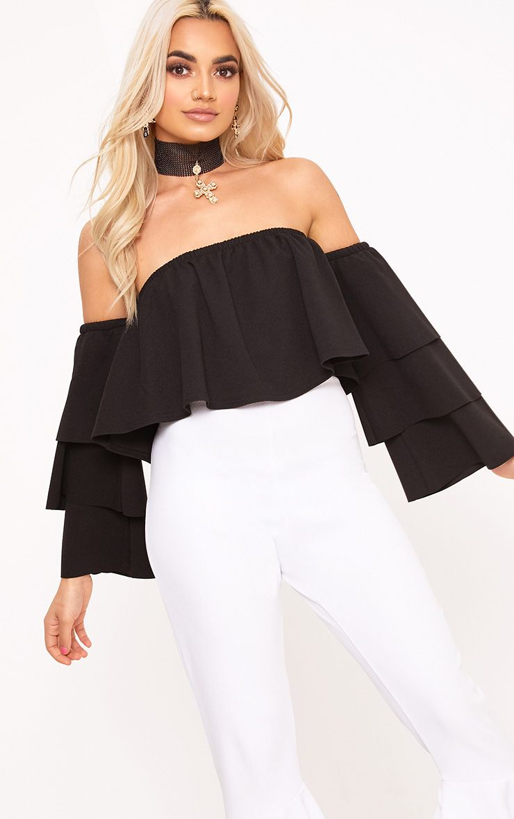 Black Bardot Layered Frill Sleeve Crop Top