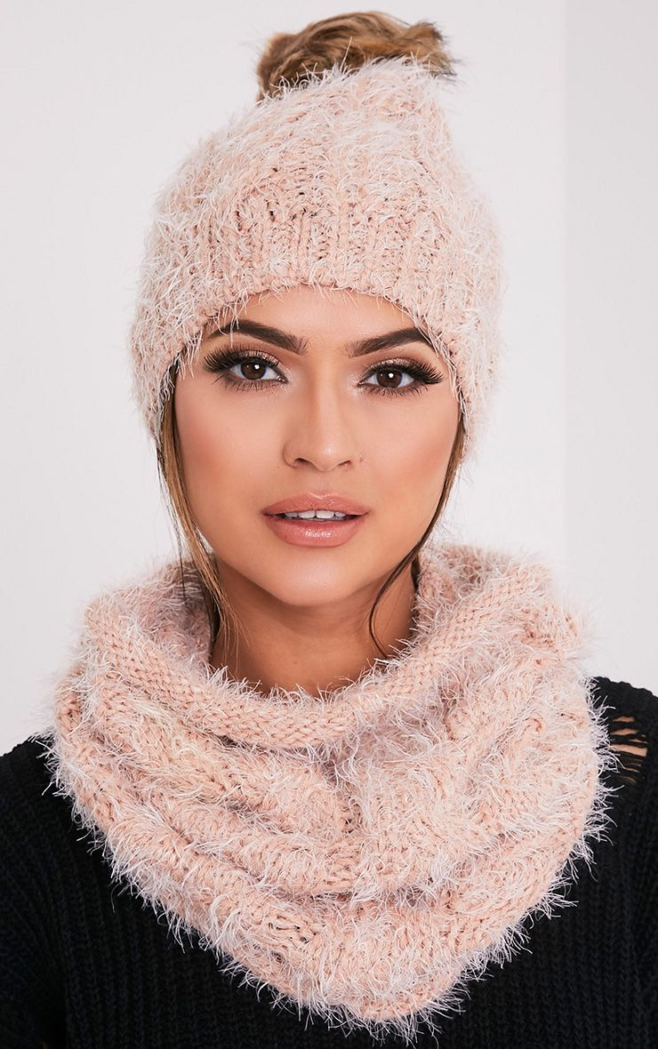 Two Pack Blush Knitted Beanie and Snood