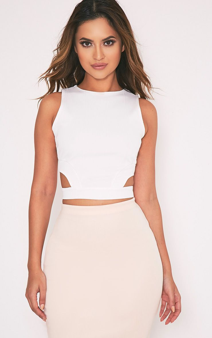 Electra Cream Bandage Cut Out Crop Top