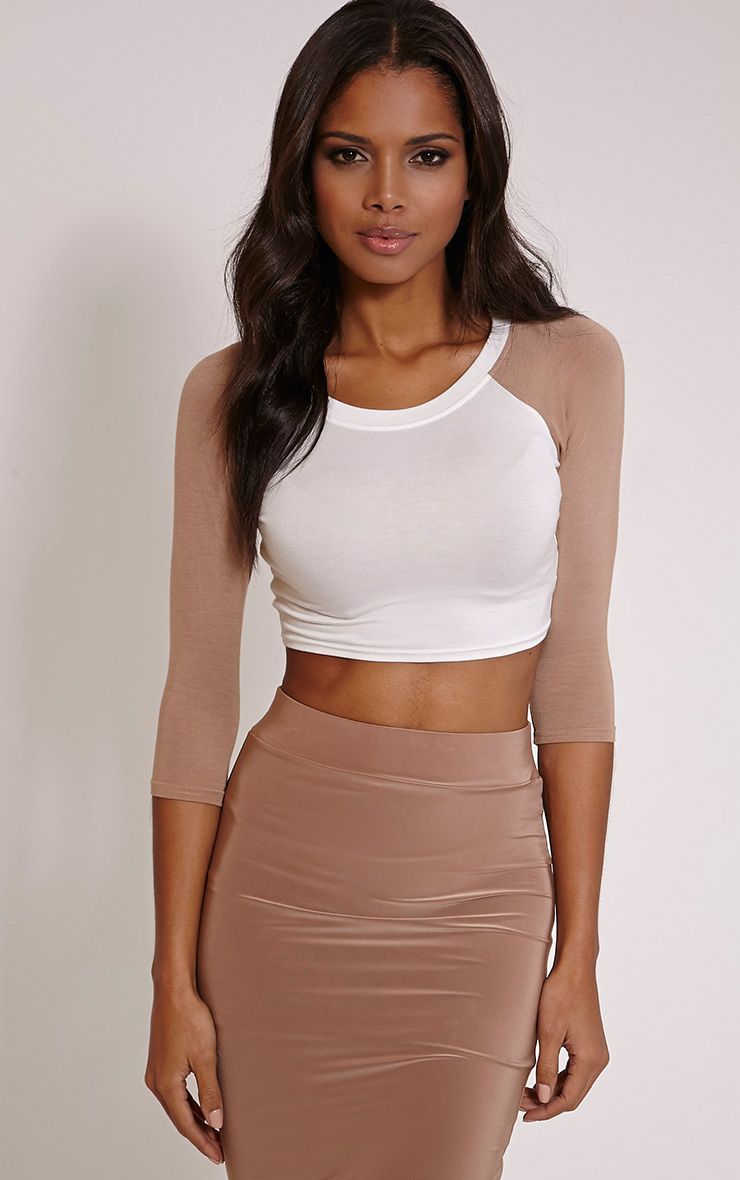 Taresa Beige Raglan Sleeve Crop Top 1