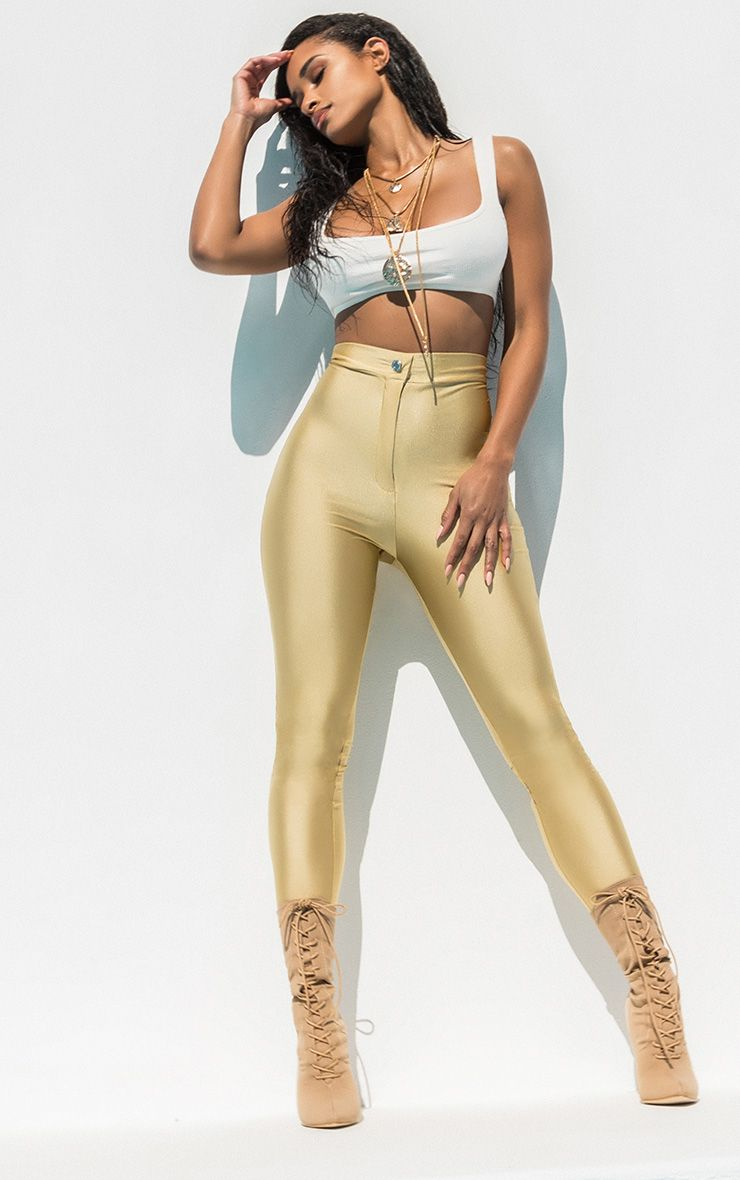 Champagne Second Skin Disco Trouser