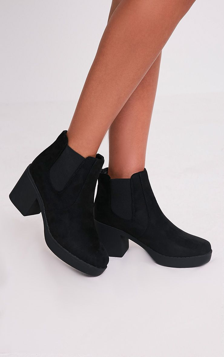 Justina Black Faux Suede Heeled Ankle Boots