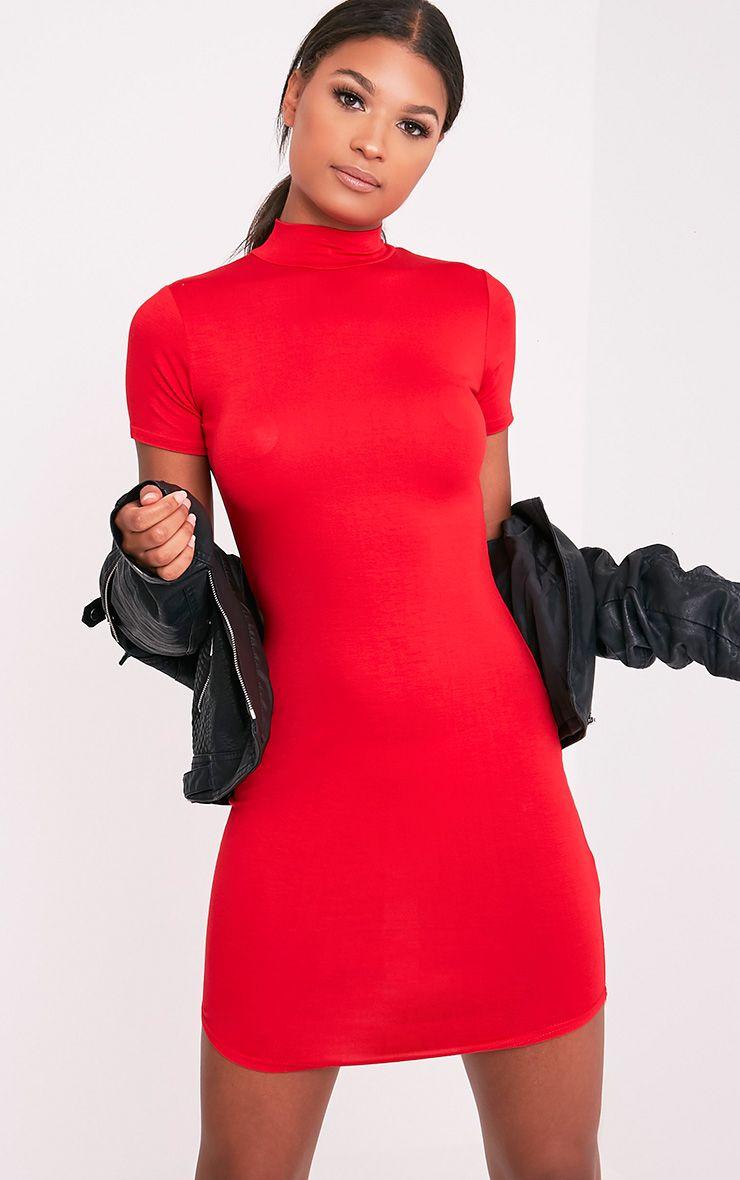 Alby Red Cap Sleeve Curve Hem High Neck Dress 1