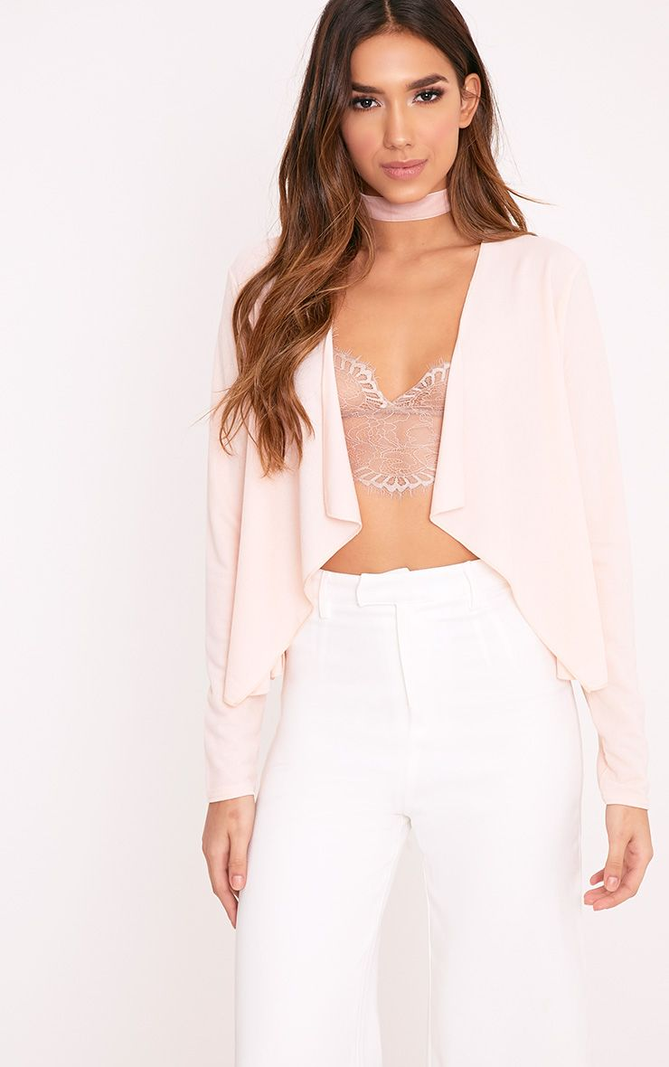 Pia Blush Crepe Waterfall Blazer