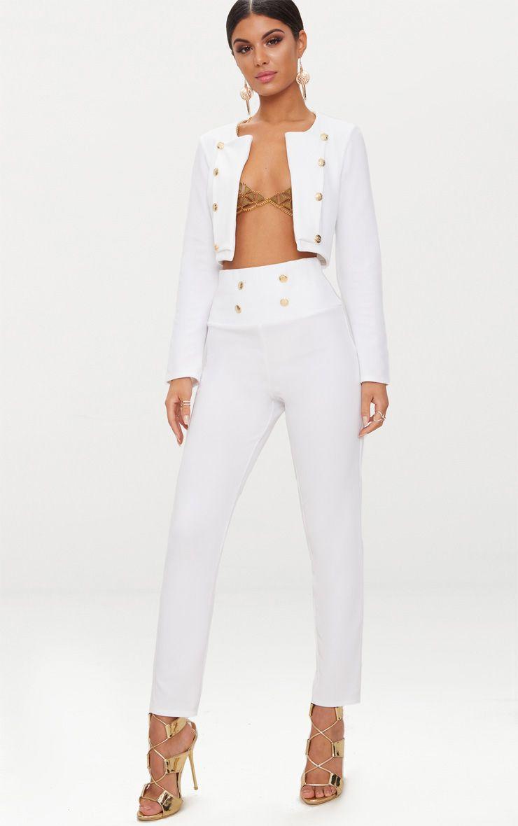 White Military Skinny Trouser