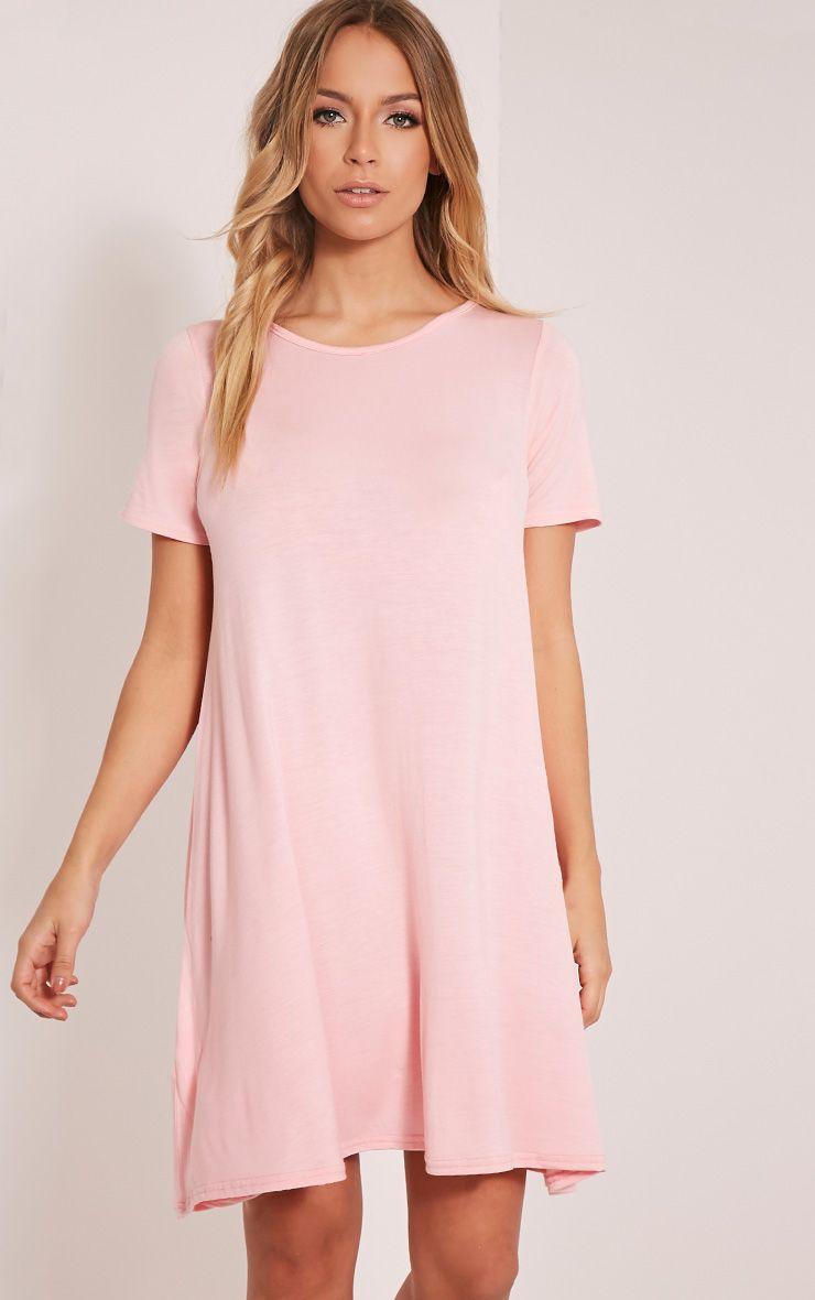 Basic Candy Pink Jersey Swing Dress