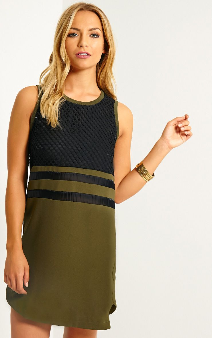 Tamsin Khaki Fishnet Shift Dress 1