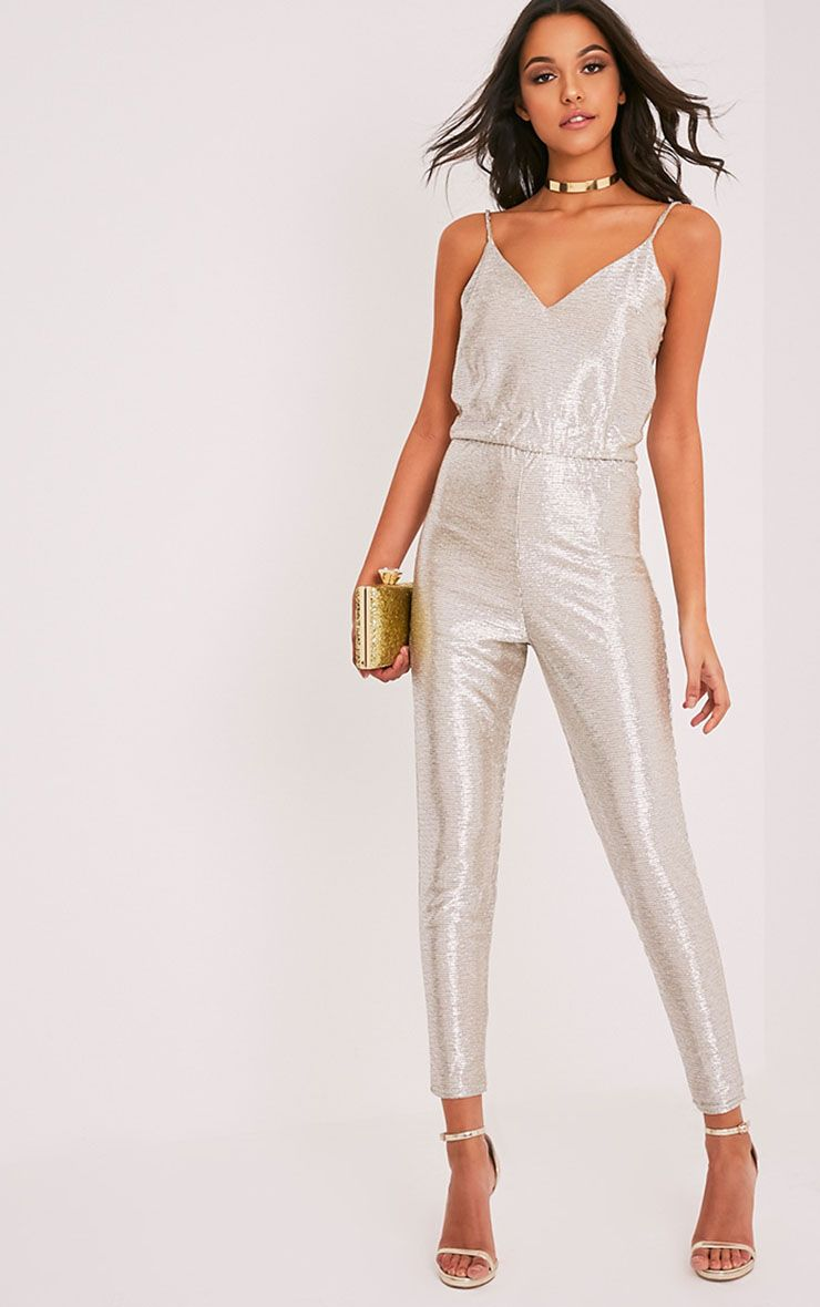 Maleena Gold Metallic Stretch Waist Jumpsuit