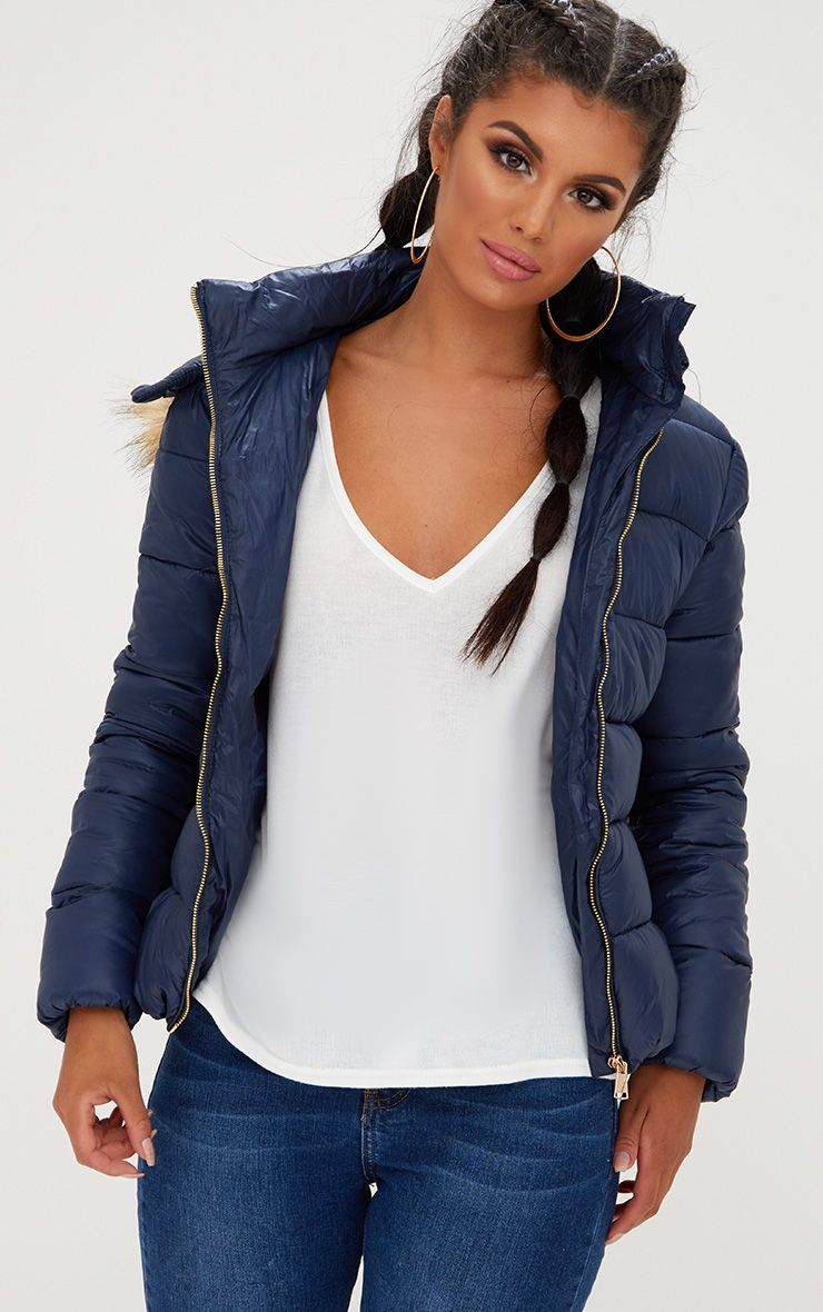 Navy Puffer Jacket with Faux Fur Hood